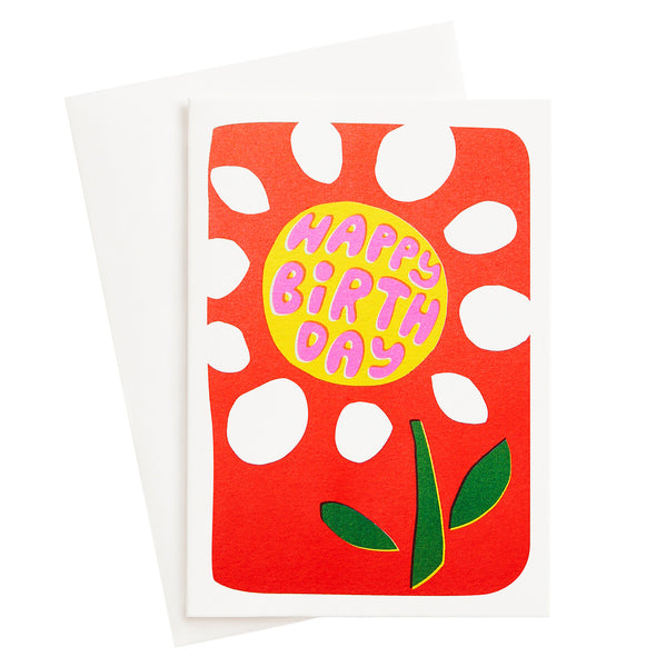 Birthday Flower Risograph Card