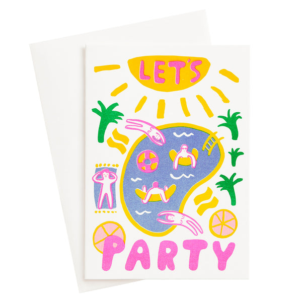 Let's Party Risograph Card
