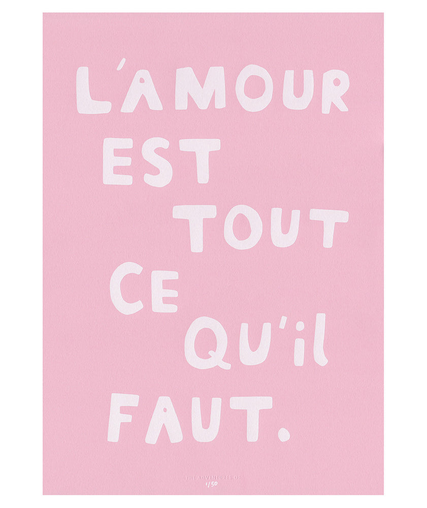 Load image into Gallery viewer, L'amour Est Tout Ce Qu'il Faut Fine Art Print in Cotton Candy