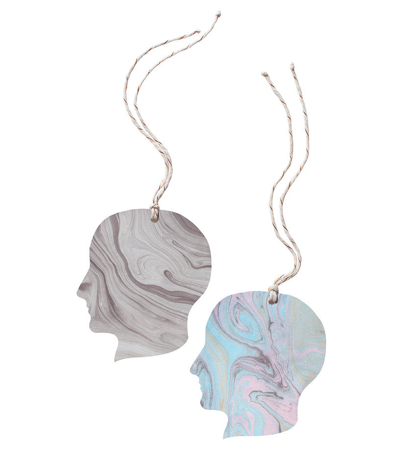 Set of 2 Marble Tags - Heads