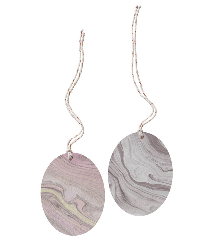 Set of 2 Marble Tags - Oval