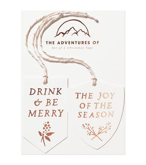 Set of 2 Foil Tags - Merry & Joy