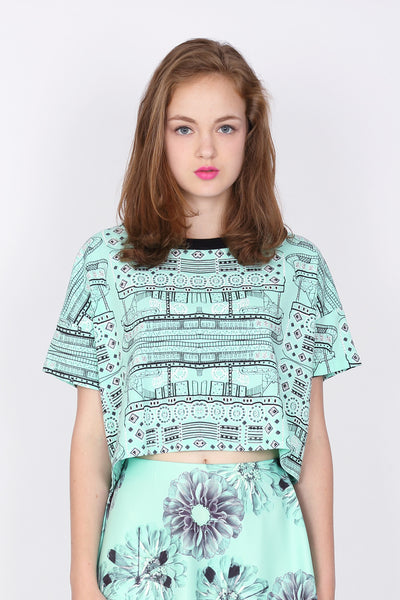 ZIZTAR Ferry Fier Drawing Crop Top