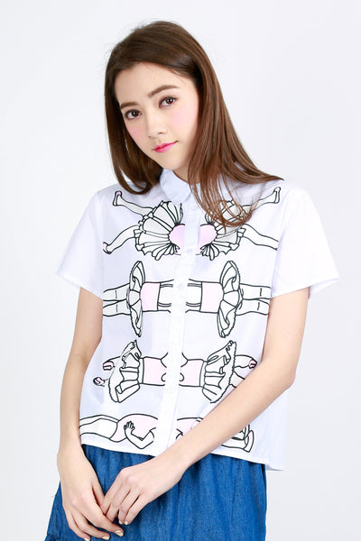ZIZTAR Dizzy Ballet Girls Collar Shirt