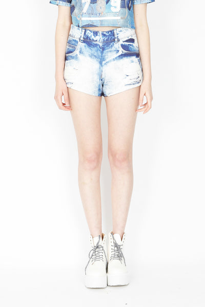 ZIZTAR Fake Denim Print Shorts