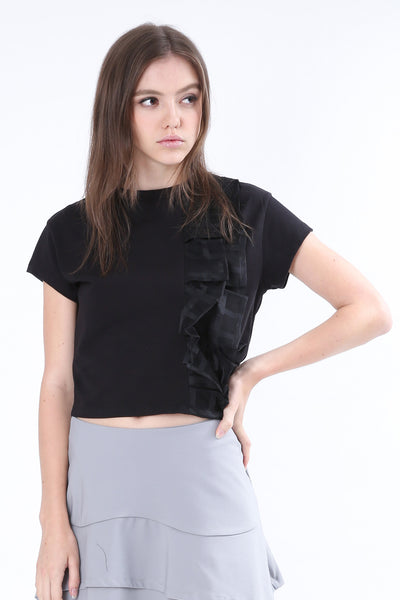 ZIZTAR Blossoming Pleated Cropped Top
