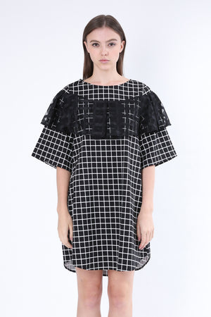 ZIZTAR Square Check Ruffle Dress - ZIZTAR
