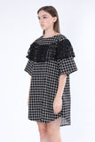 ZIZTAR Square Check Ruffle Dress