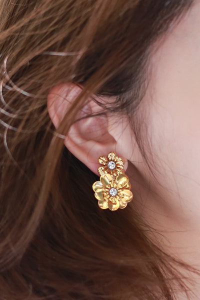 ZIZTAR Double Glorious Floral With Crystal Earrings