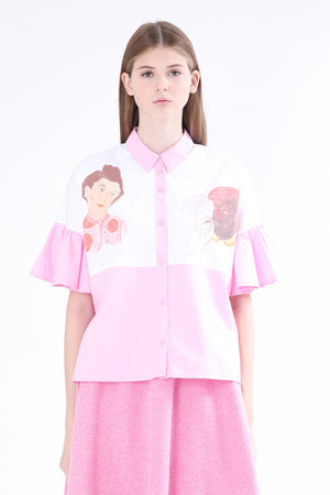 ZIZTAR Miss Two Big Heads Collar Ruffle Shirt - ZIZTAR