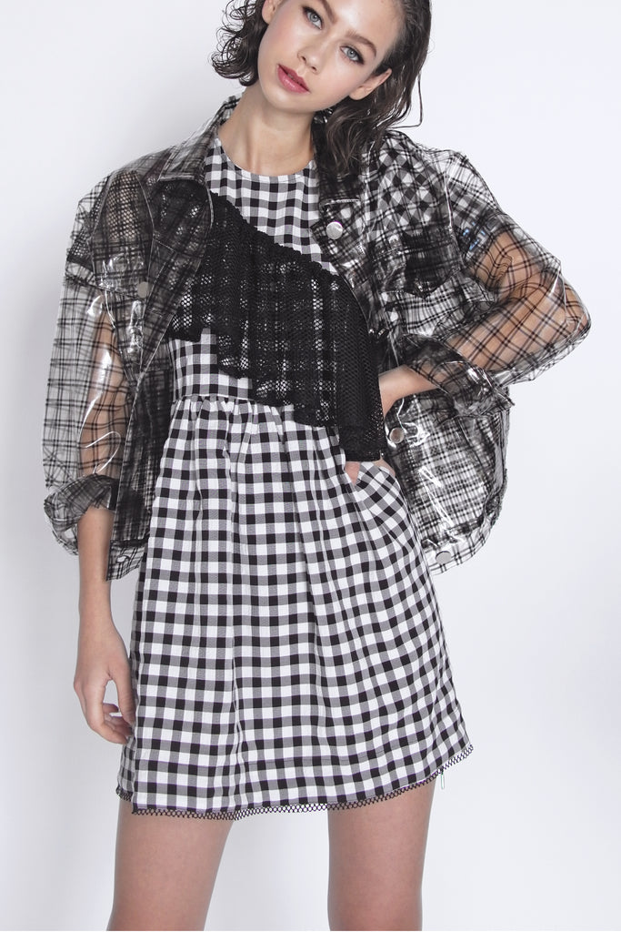 ZIZTAR Share your story in checked dress