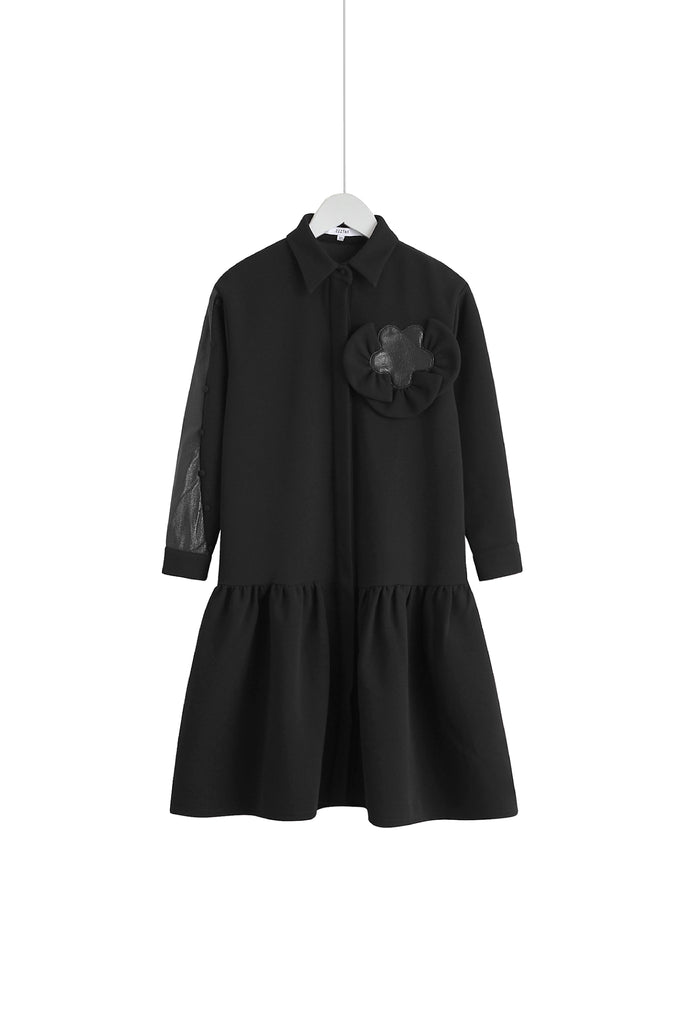 ZIZTAR Back To School Flower Shirt Dress