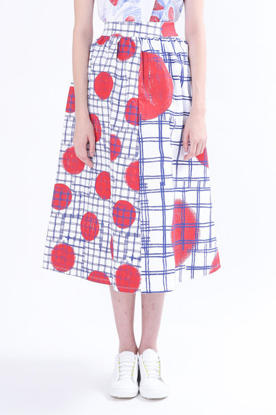 ZIZTAR Lines And Dots Combination Midi Skirt
