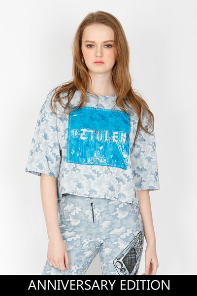ZIZTAR Fake Denim Camouflage Crop Top