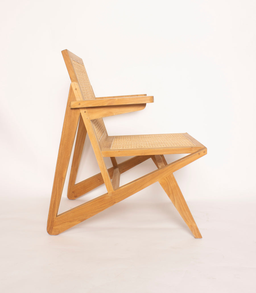 Teak and Rattan Accent Chair