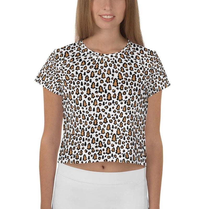 Christmas Leopard Print Crop Top