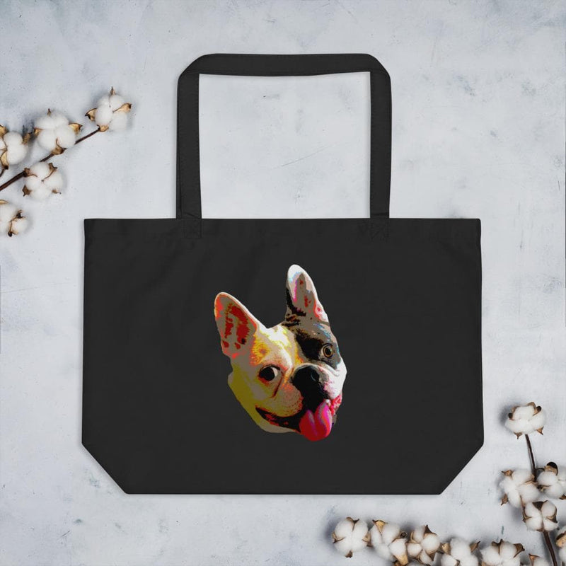 Pop Art Bulldog Organic Large Tote Bag-Animal Teeze