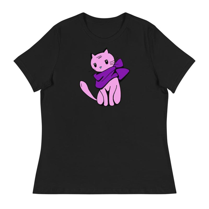 Ladies Winter Cat Relaxed Tee-Animal Teeze