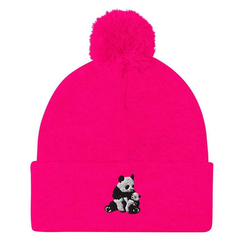 Pom-Pom Panda Mom Beanie-Animal Teeze