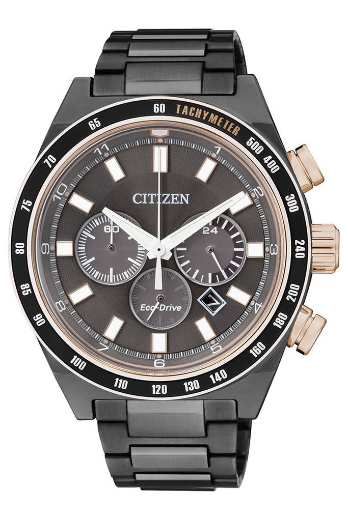 CITIZEN Sport Chronograph Eco-Drive Charcoal Grey Dial Grey Ion-plated Men's Watch Item No. CA4207-53H
