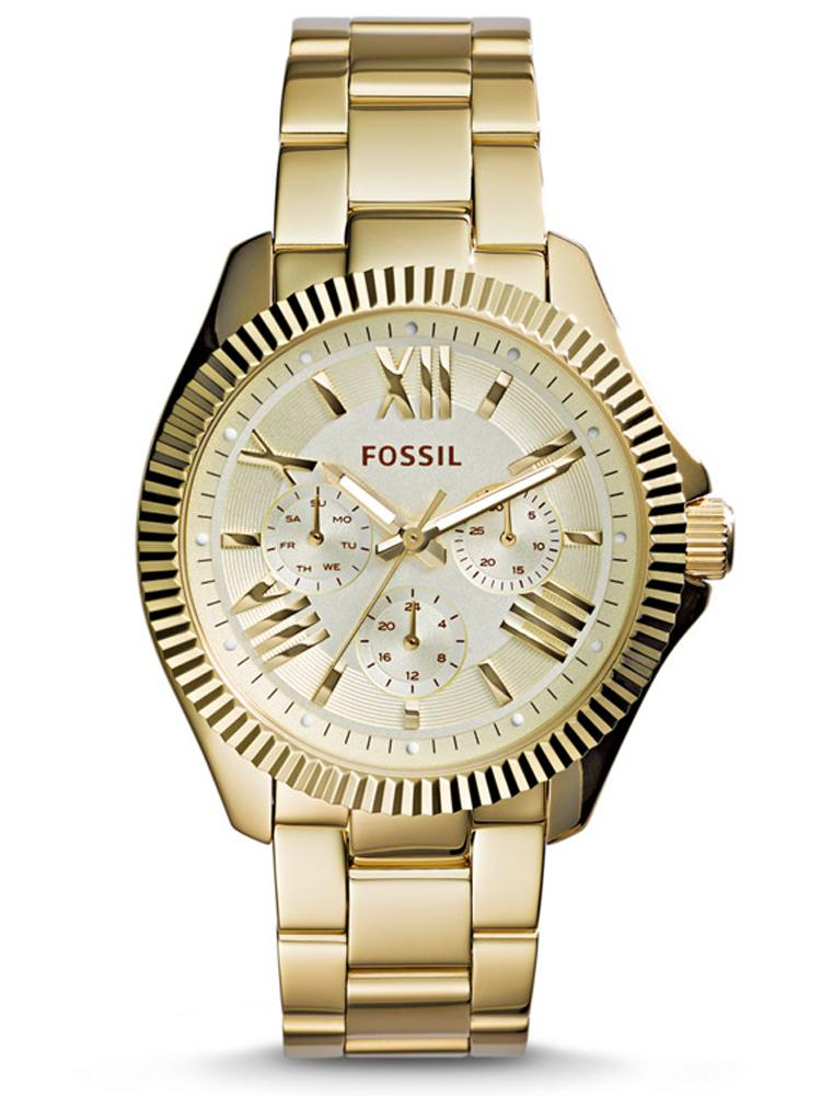 Fossil Ceclie Multi-Function Champagne Dial Gold Steel Ladies Watch AM4570