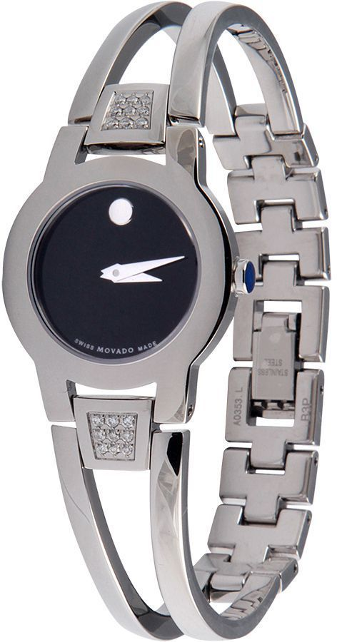 MOVADO S.STEEL DIAMOND BLACK DIAL SWISS QUARTZ  MODEL # 0604982
