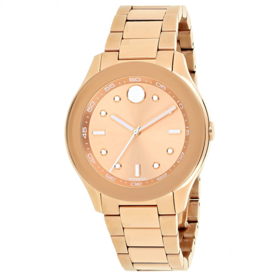 Ladies Movado Bold Rose Dial Watch. Model # 3600417