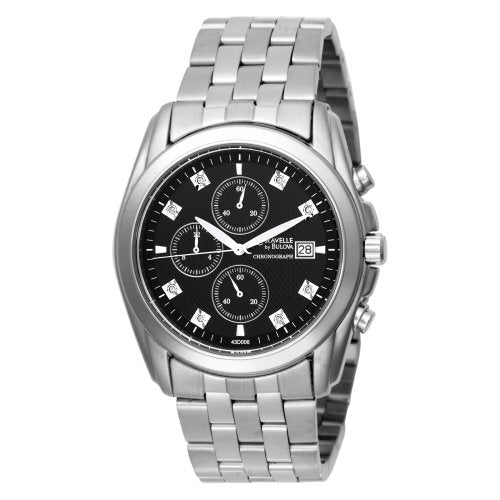 Men's Caravelle Chronograph Stainless Steel Bracelet Watch with Diamond  (Model: 43D006)