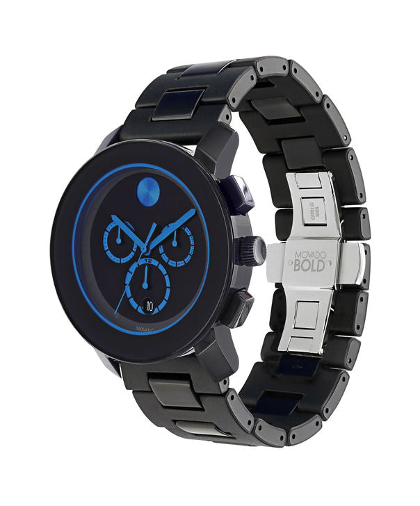 MOVADO BLACK STRAP BLUE HAND SWISS WATCH Model # 3600101