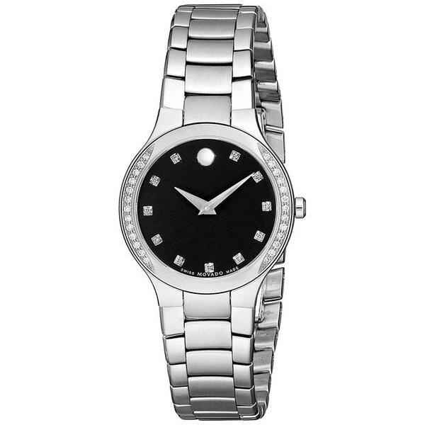 MOVADO S.STEEL BLK DIALSWISS QUARTZ DIAMOND