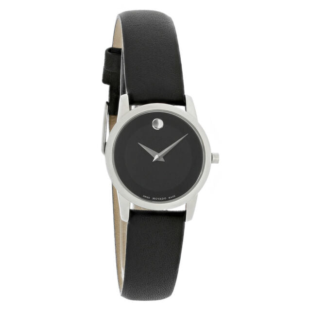 LADIES MOVADO LEATHER STRAPS.STEEL BLAK DIAL SWISS WATCH MODEL # 0606503