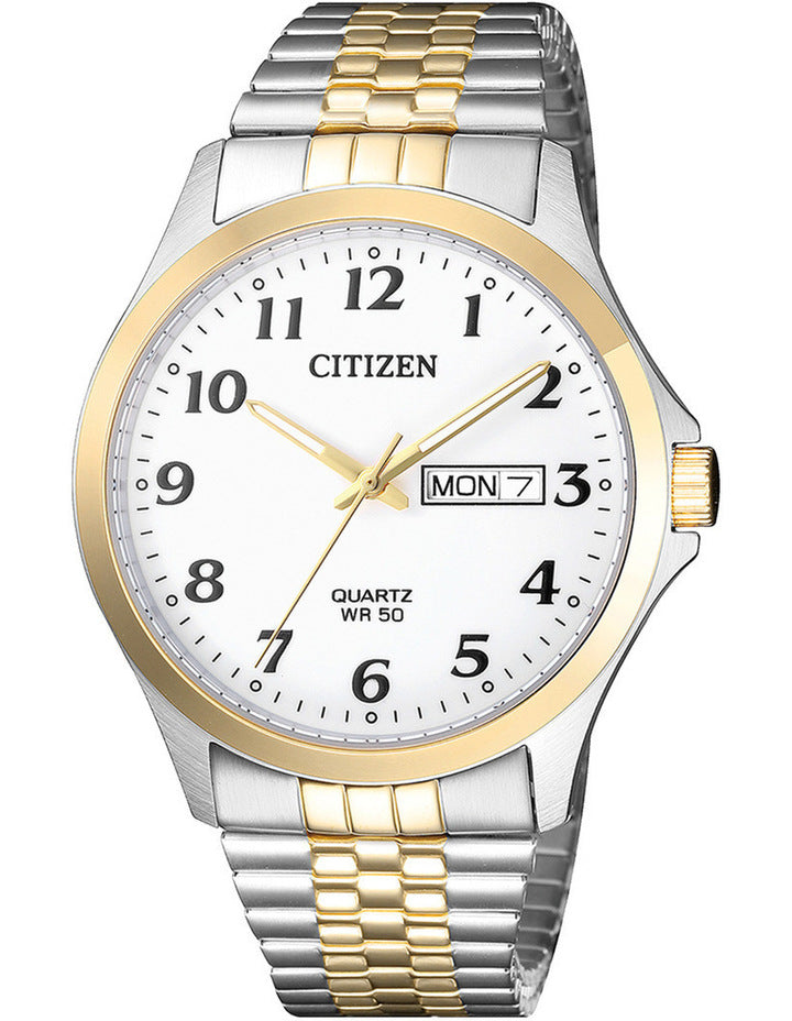 Men's Citizen two tone stainless steel Quartz watch. Model #  BF5004-93A