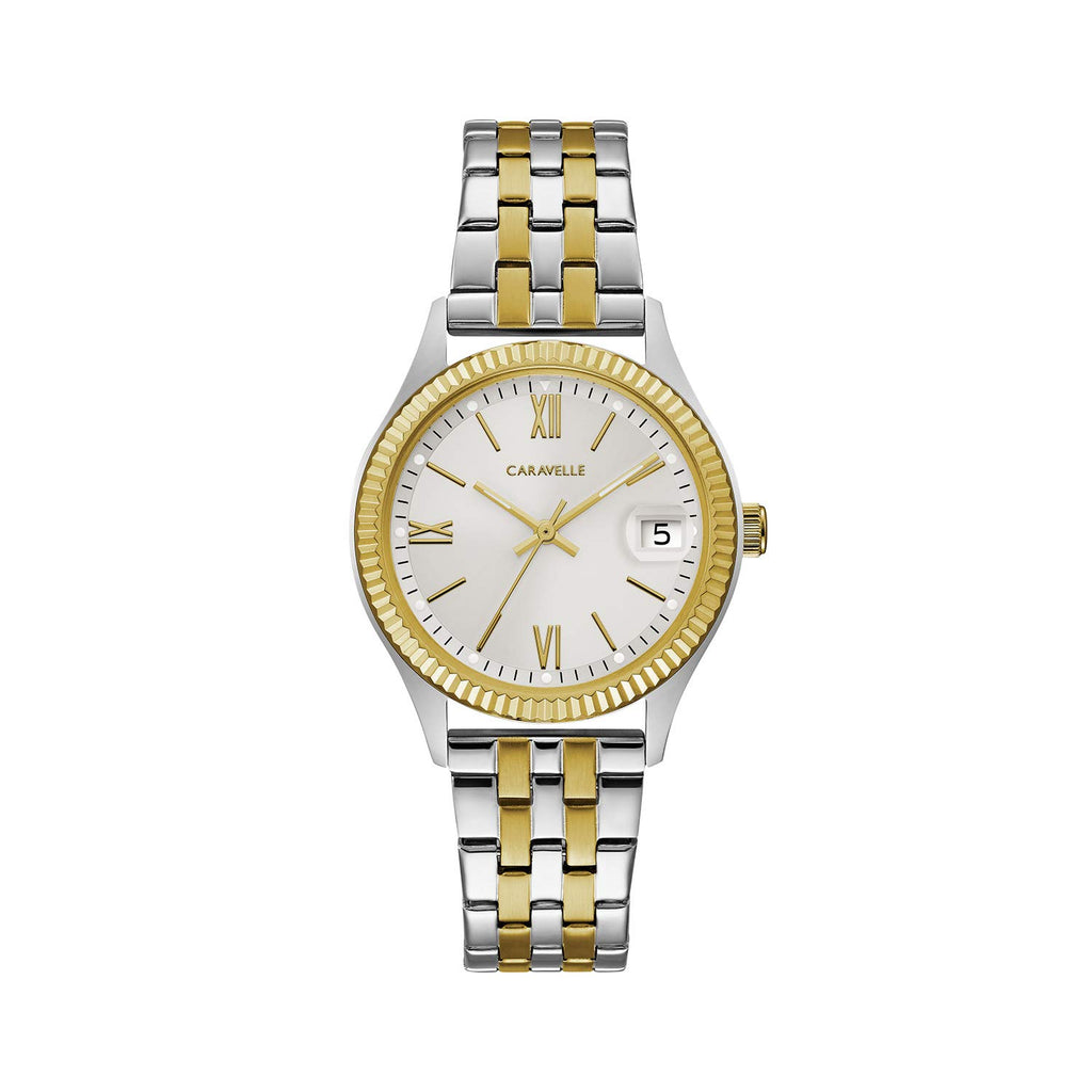 Caravelle Women's Quartz Watch with Stainless-Steel Strap, Two Tone, 16 (Model: 45M112)