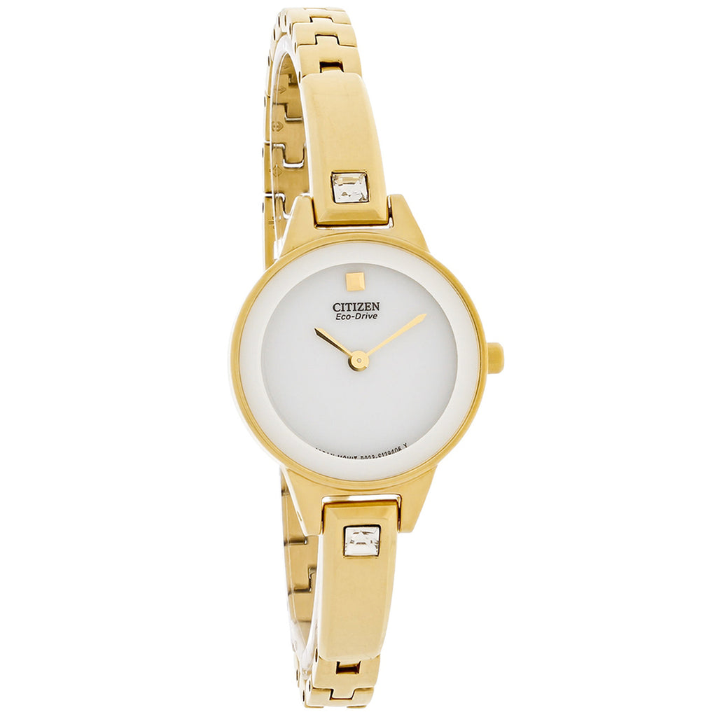 CITIZEN ECO-DRIVE LADIES CRYSTAL WHITE DIAL GOLD TONE BANGLE WATCH EX1322-59A