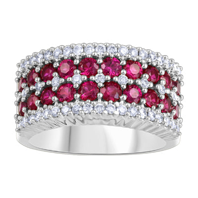 10K RING 0.50CT DIA1.30CT RUBY