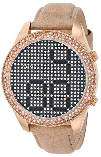 Fossil Women's ES3443 Electro Tick Crystal-Accented Rose Gold-Tone Stainless Steel Watch with Leather Band