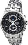 Seiko Black Dial Chronograph Stainless Steel Men's Watch SNAE83
