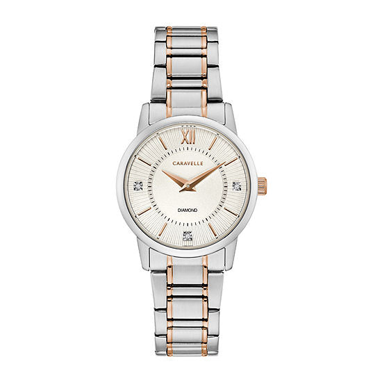 Caravelle Womens Two Tone Stainless Steel Bracelet Watch-45p110