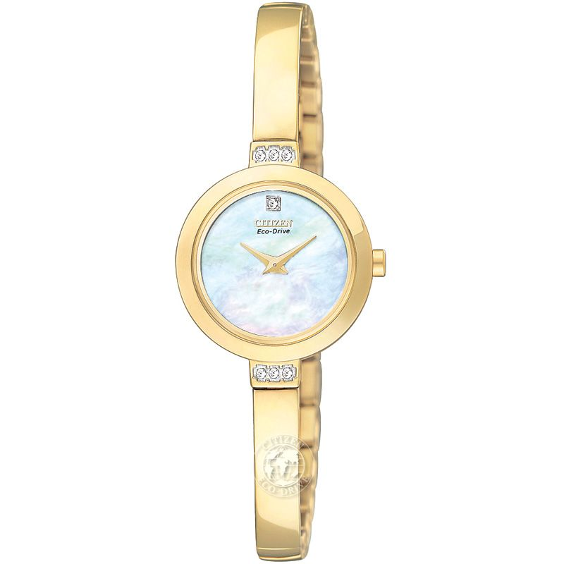 Citizen Women's EW9922-54D Crystal Eco-Drive Gold Tone Mother-Of-Pearl Dial Watch