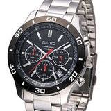 SEIKO Chronograph Black Dial Men's Watch Item No. SSB053