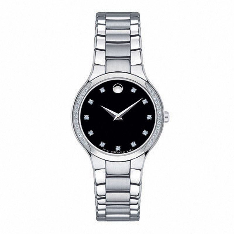 Ladies Movado Serio Diamond Museum Dial Watch. Model 0606491