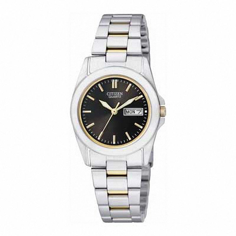 Citizen Black Dial Analog Quartz Gold Accent Womens Watch EQ0564-59E