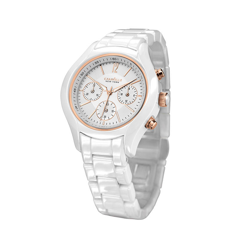 Ladies' Caravelle NY Chronograph Ceramic Watch with White Dial (Model: 45L144)
