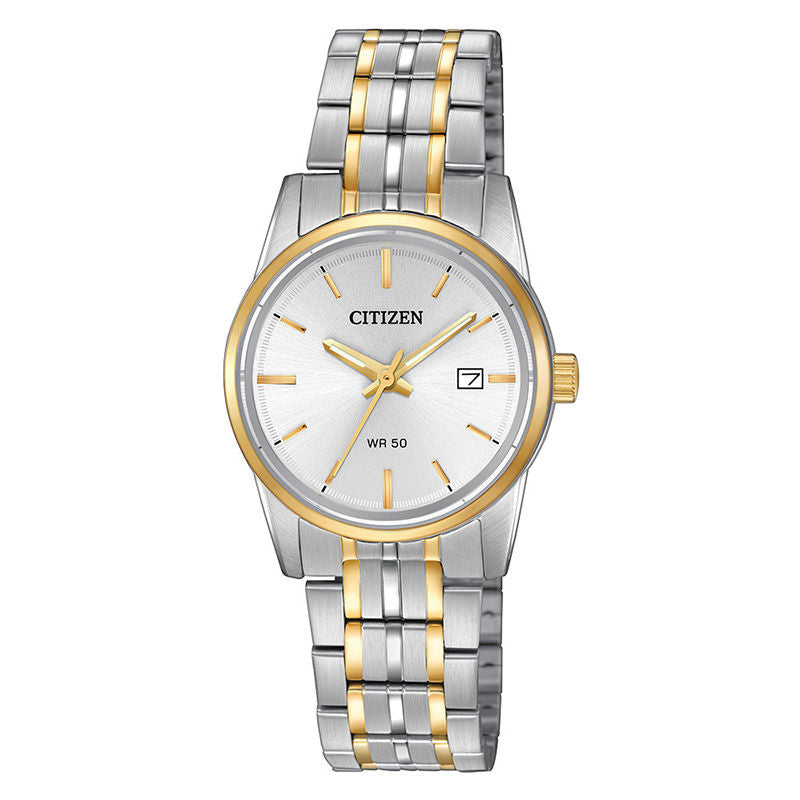 Ladies' Citizen Quartz Two-Tone Watch with Silver-Tone Dial (Model: EU6004-56A)