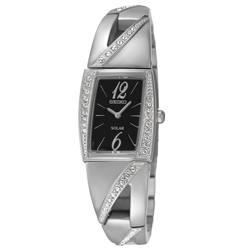 Seiko SUP245 Solar Stainless Steel Swarovski Crystal Accented Black Dial Women's Watch