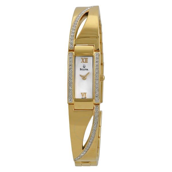 Ladies Bulova Crystal Series Mother of Pearl Dial Ladies Watch Model  No. 98V28
