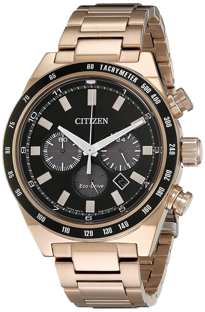Citizen Eco-Drive Men's Chronograph Rose Gold-Tone 42mm Watch CA4203-54E