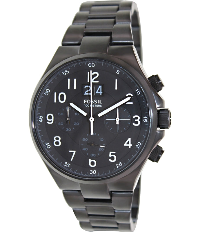 Fossil CH2904 Men Watches : Quartz Date Chronograph Black Stainless Steel