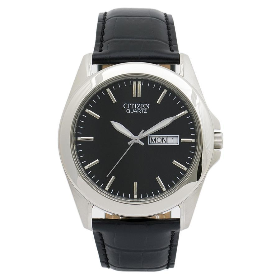 Citizen Quartz Watch with Black Dial and Leather Strap #BF0580-06E
