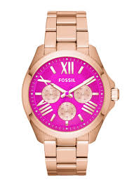 FOSSIL Cecile Multi-Function Pink Dial Rose Gold-tone Ladies Watch Item No. AM4549
